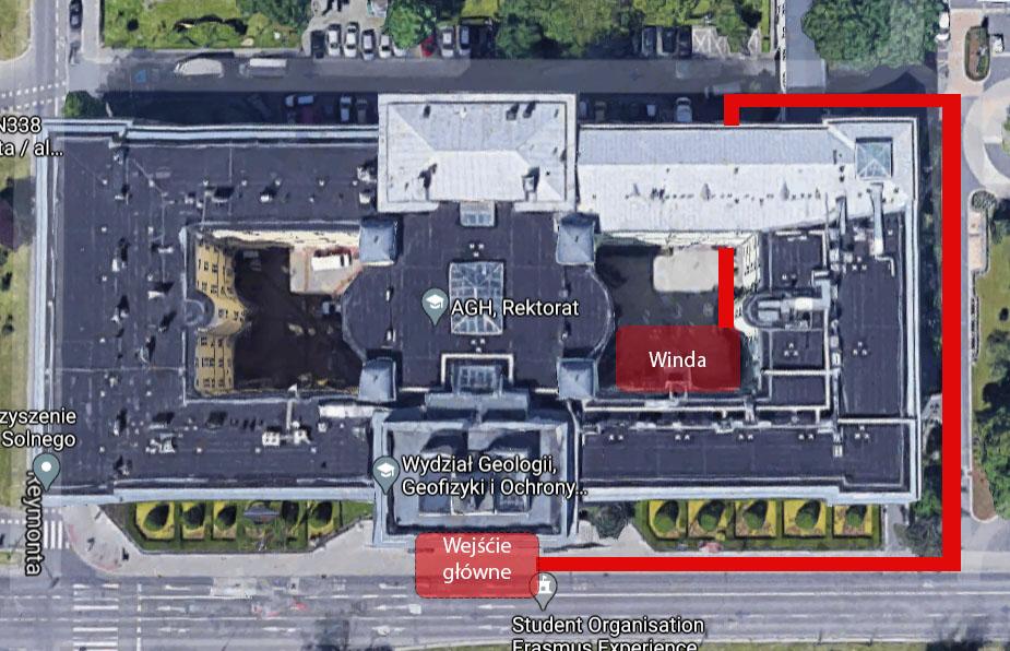 Zdjęcie przedstawia mapkę dojścia do windy w budynku głównym AGH
